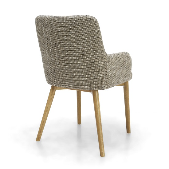 Cabalo Fabric Dining Chair In Tweed Oatmeal In A Pair_2