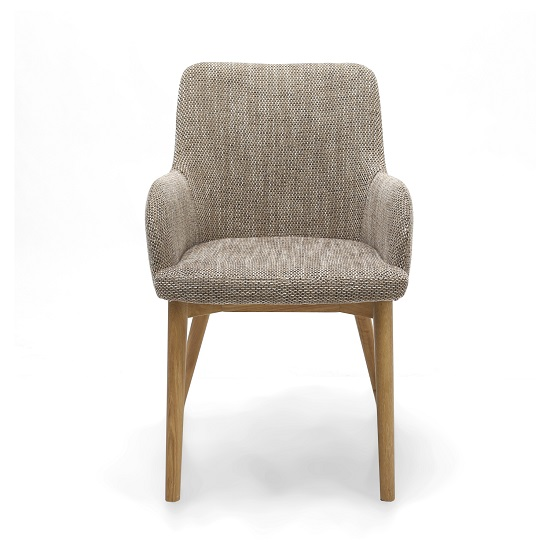 Cabalo Fabric Dining Chair In Tweed Oatmeal In A Pair_3