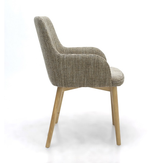 Cabalo Fabric Dining Chair In Tweed Oatmeal In A Pair_4