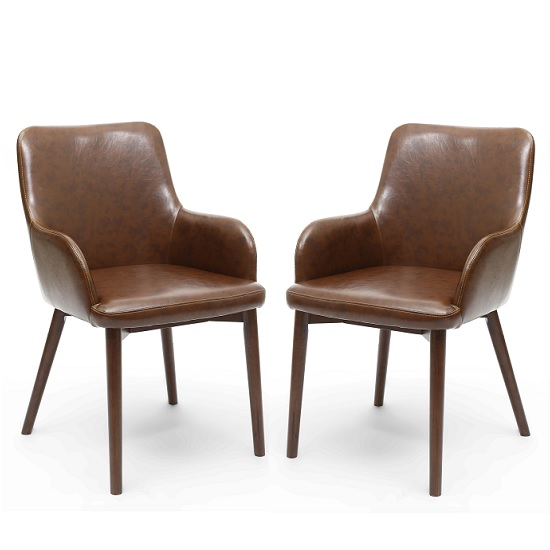 Cabalo Dining Chair In Antique Brown Leather Match In A Pair