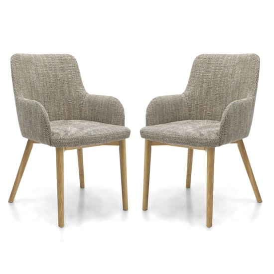 Product photograph showing Cabalo Tweed Oatmeal Fabric Dining Chairs In Pair