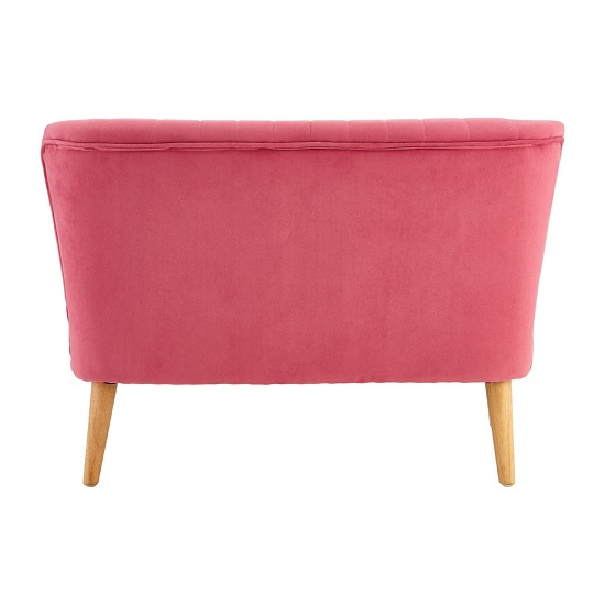 Cabane 2 Seater Kids Sofa In Pink Velvet With Wooden Legs_4