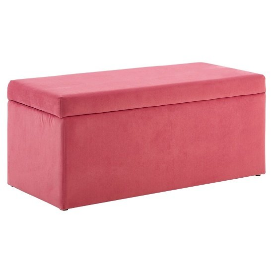 Cabane Kids Ottoman In Pink Velvet With Wooden Legs
