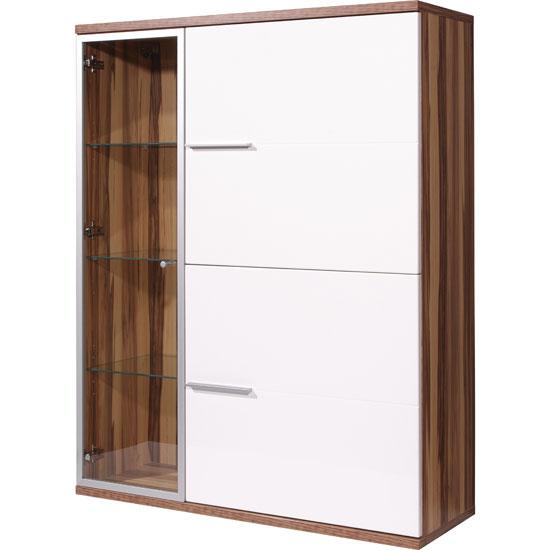 Nevada Gloss Baltimore Walnut And White Display Cabinet