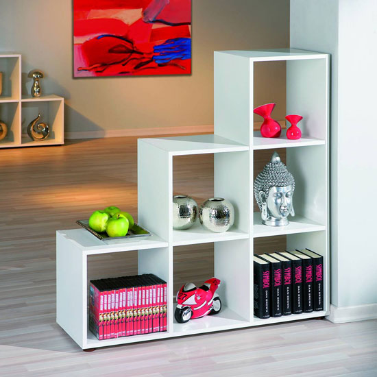 Caboto 3 Tier Display Shelves In White With 6 Compartments