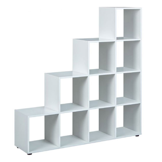 Caboto FSC 4 Tier Display Shelves In White With 10 Compartments_2