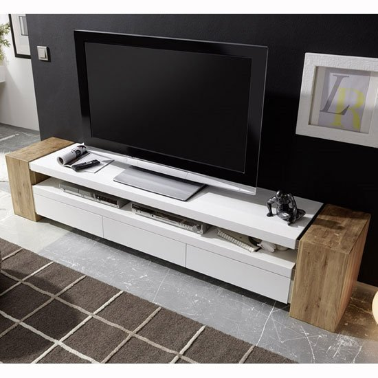 Caddy TV Stand In Matt White And Knotty Oak With 3 Drawers_1