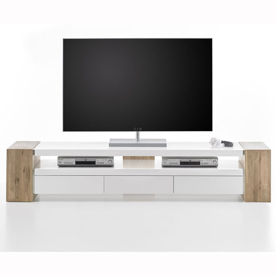 Caddy TV Stand In Matt White And Knotty Oak With 3 Drawers_3
