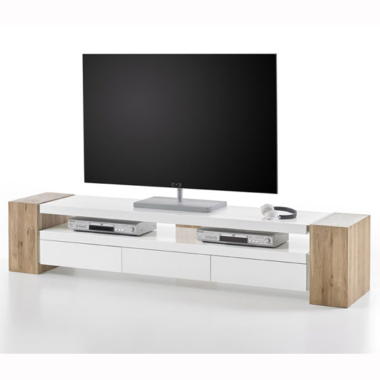 Caddy TV Stand In Matt White And Knotty Oak With 3 Drawers_4