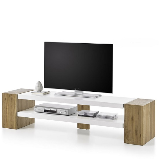 Peter Rectangular TV Stand In Matt White And Knotty Oak_2