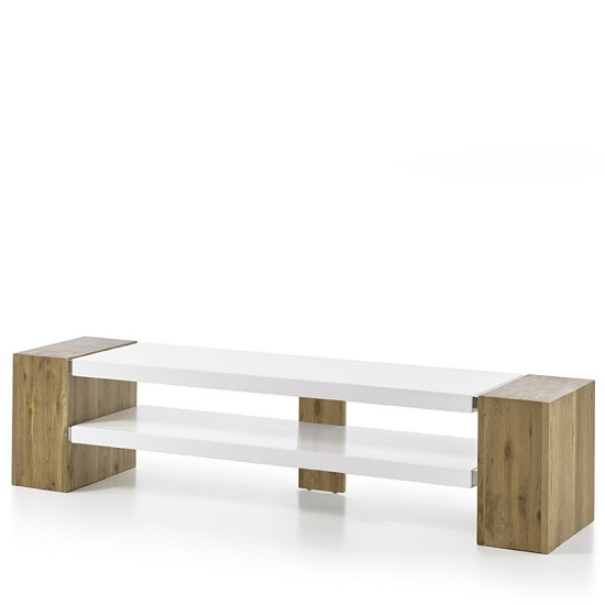 Peter Rectangular TV Stand In Matt White And Knotty Oak_4