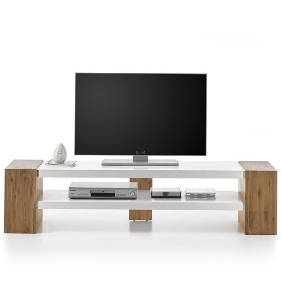 Peter Rectangular TV Stand In Matt White And Knotty Oak_3