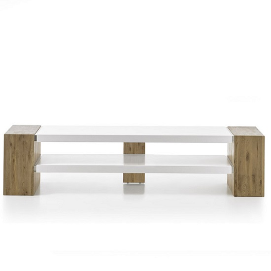 Peter Rectangular TV Stand In Matt White And Knotty Oak_5