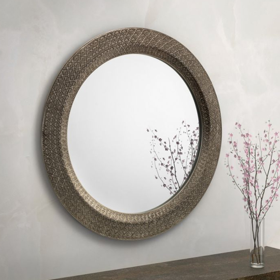 Cadence Large Round Ornate Wall Mirror In Pewter