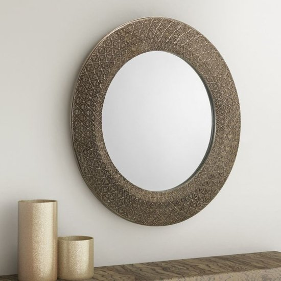 Cadence Small Round Ornate Wall Mirror In Pewter