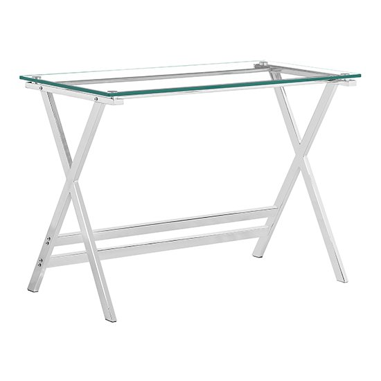 Cadet Glass Console Table With Chrome Metal Legs