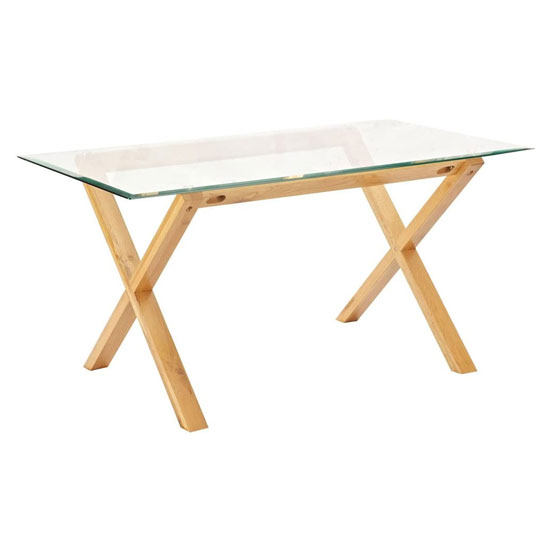 Cadiz Glass Top Dining Table In Solid Oak