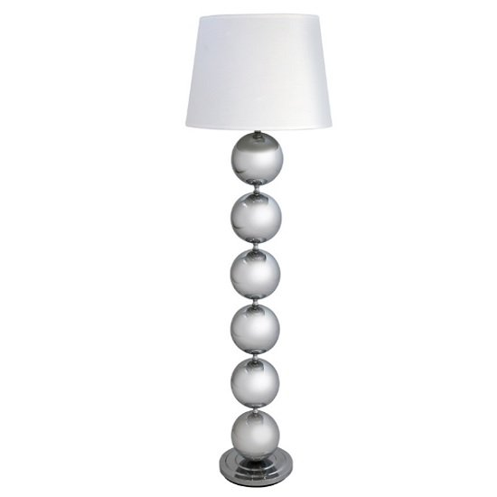 Cado Bobble Floor Lamp In Cream Shade With Chrome Base Panel