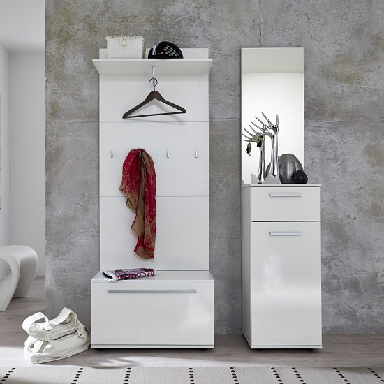 Cadore Hallway Furniture Set In White With High Gloss Fronts