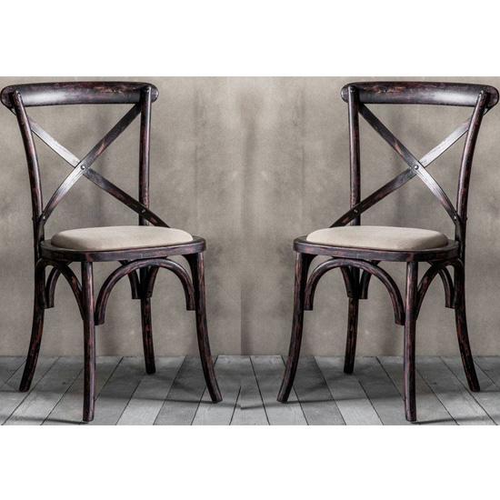 Cafe Cross Back Black Wooden Dining Chairs In Pair