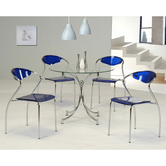 Jenny Glass Dining Table With 4 Blue Dining Chairs