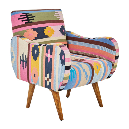 View Cafenos multi-coloured fabric bedroom chair with mango wood legs