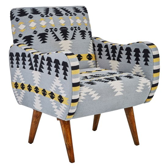 View Cafenos multi-coloured fabric bedroom chair with oak wooden legs