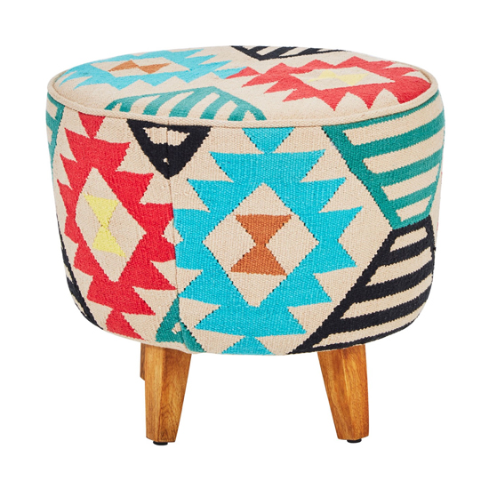 View Cafenos multi-coloured fabric upholstered footstool