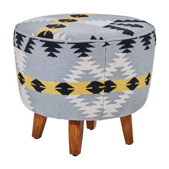 Cafenos Round Fabric Footstool In Multicolour With Oak Legs_2