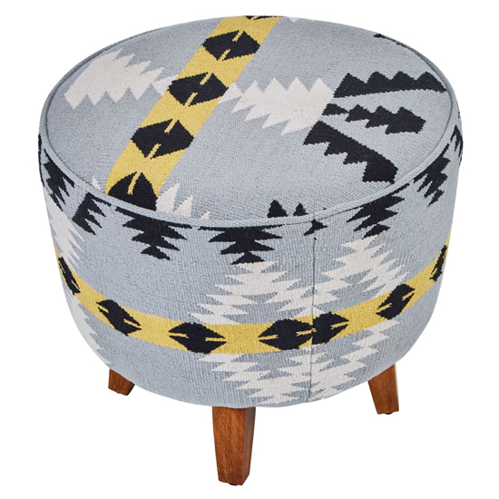 Cafenos Round Fabric Footstool In Multicolour With Oak Legs_3