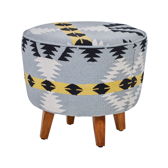 Cafenos Round Fabric Footstool In Multicolour With Oak Legs_1