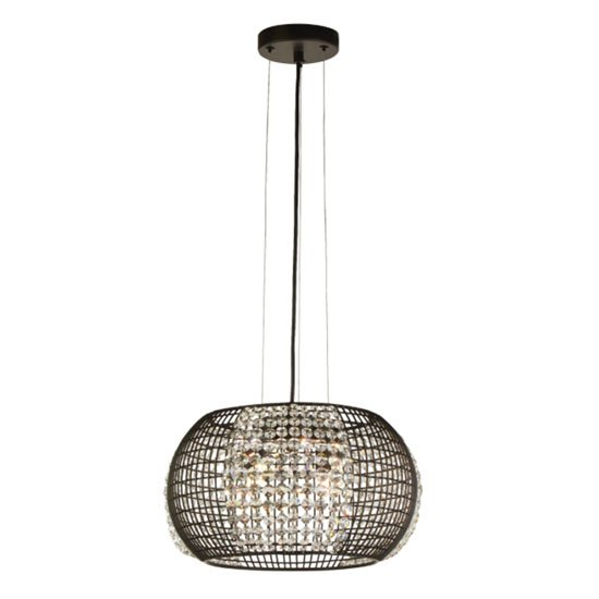 Cage Round 4 Pendant Light In Black With Crystal Glass Panels