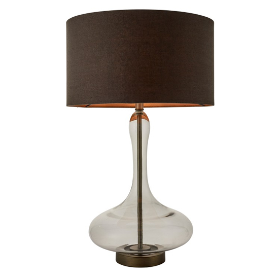 Caia Table Lamp In Brown With Glass Stand