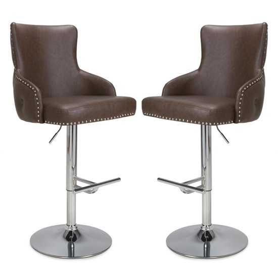 Cairo Brown Leather Effect Bar Stool In Pair