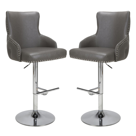 Cairo Grey Leather Effect Bar Stool In Pair