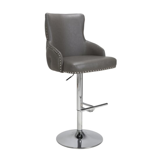 Cairo Leather Effect Bar Stool In Grey