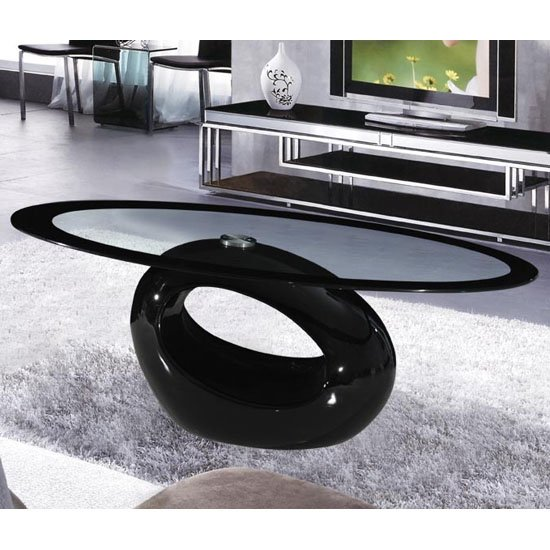 Cairo Oval Black Border Glass Coffee Table With Black Gloss Base