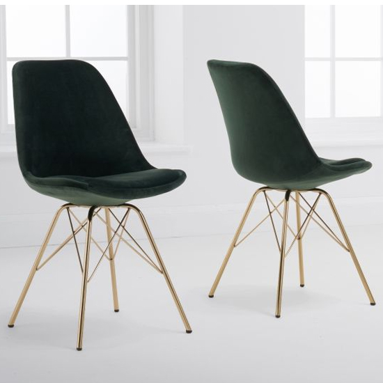 Calabash Green Velvet Dining Chairs With Gold Legs In A Pair