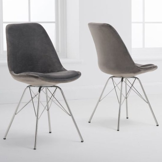 Calabash Grey Velvet Dining Chairs With Chrome Legs In A Pair