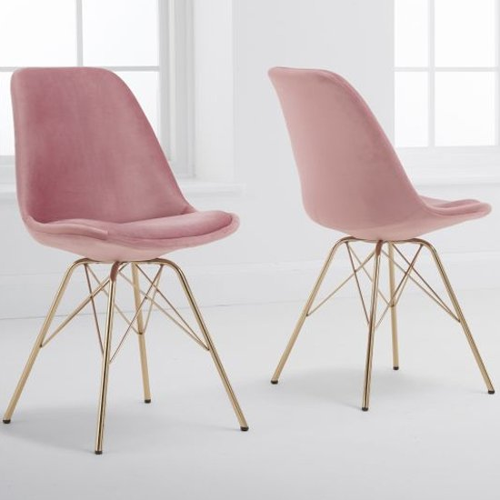 Calabash Pink Velvet Dining Chairs With Gold Legs In A Pair_1