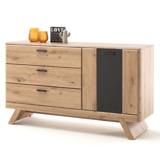 Calais Large 1 Door Sideboard In Planked Oak With 3 Drawers
