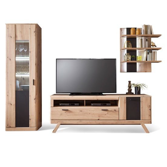 Calais LED Living Room Set In Planked Oak With Display Cabinet_2