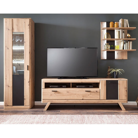 Calais LED Living Room Set In Planked Oak With Display Cabinet_1