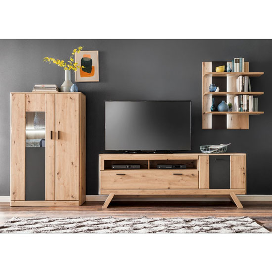 Calais LED Living Room Set In Planked Oak With Highboard