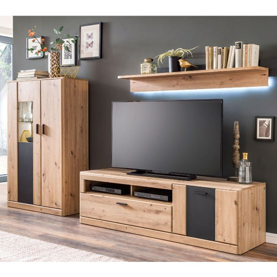 Calais LED Living Room Set In Planked Oak With Wall Shelf_2
