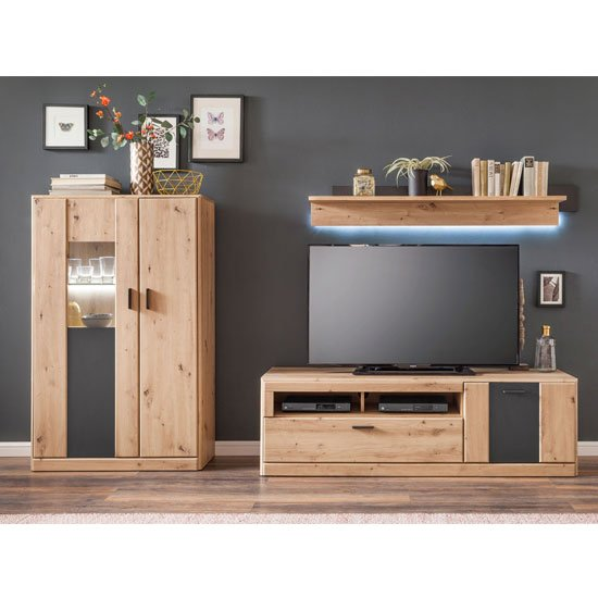 Calais LED Living Room Set In Planked Oak With Wall Shelf