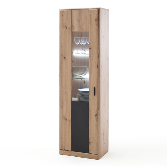 Calais LED Wooden Display Cabinet In Planked Oak With 1 Door