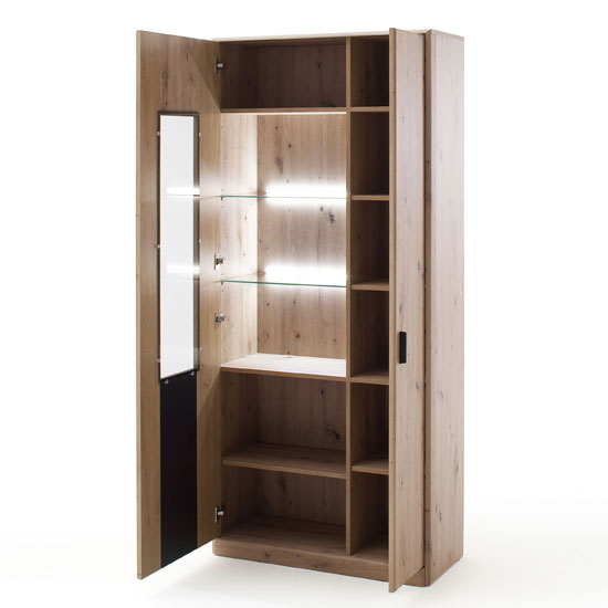 Calais LED Wooden Display Cabinet In Planked Oak With 2 Doors_2