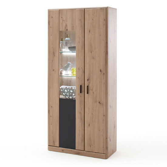 Calais LED Wooden Display Cabinet In Planked Oak With 2 Doors_1