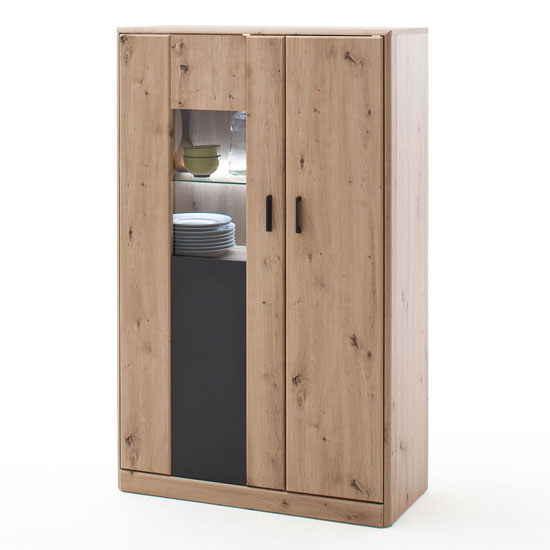Calais LED Wooden Highboard In Planked Oak With 2 Doors